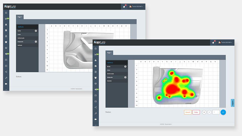 Interfaz de Kapture mostrando el mapa de calor de un producto