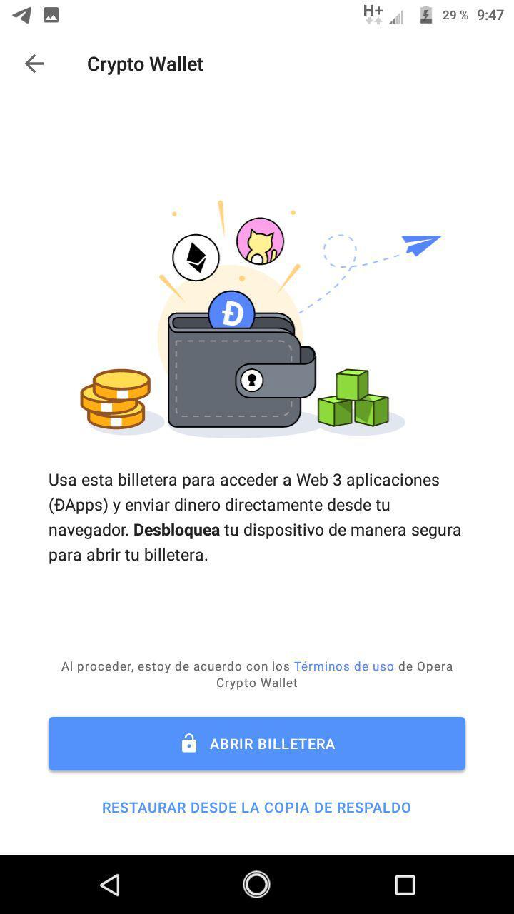 Opera mostrando pantalla inicial de su crypto wallet