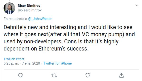 Biser Dimitrov hablando sobre Ethereum y el DeFi