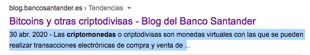 Entrada del Blog de Banco Santander