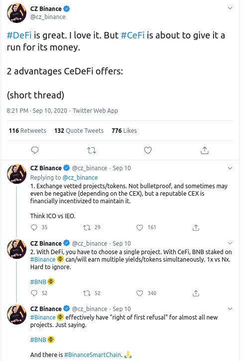 Mensaje de Changpeng Zhao sobre CeDeFi en Twitter